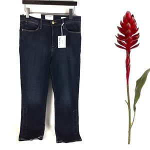 FRAME Le High Straight-Leg Snap-Hem Jeans